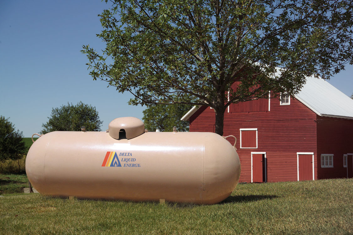propane tank supplying energy to farm