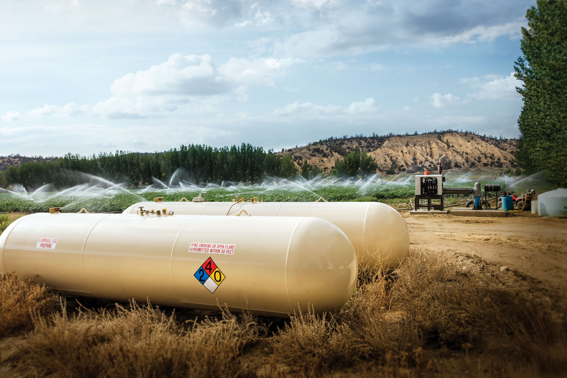 propane tanks supplying energy for agriculture field