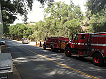 Photo of Fire Trucks tending the Adelaida fire.