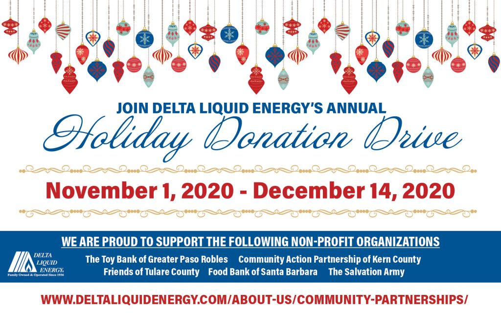 image of Delta Liquid Energy's 2020 Holiday Donation Drive flyer