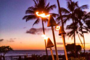 propane fueled tikki torches at hotel resort