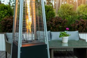propane portable heater at hotel outdoor space